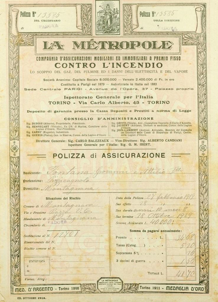 Polizza assicurativa contro l'incendio del 1929